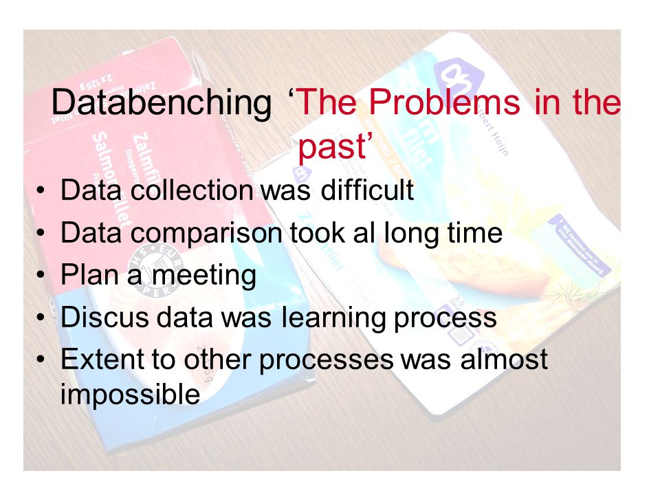 Databenching 'The Problems in the past' Data collection was difficult Data comparison took al long time Plan a meeting Discus data was learning proces