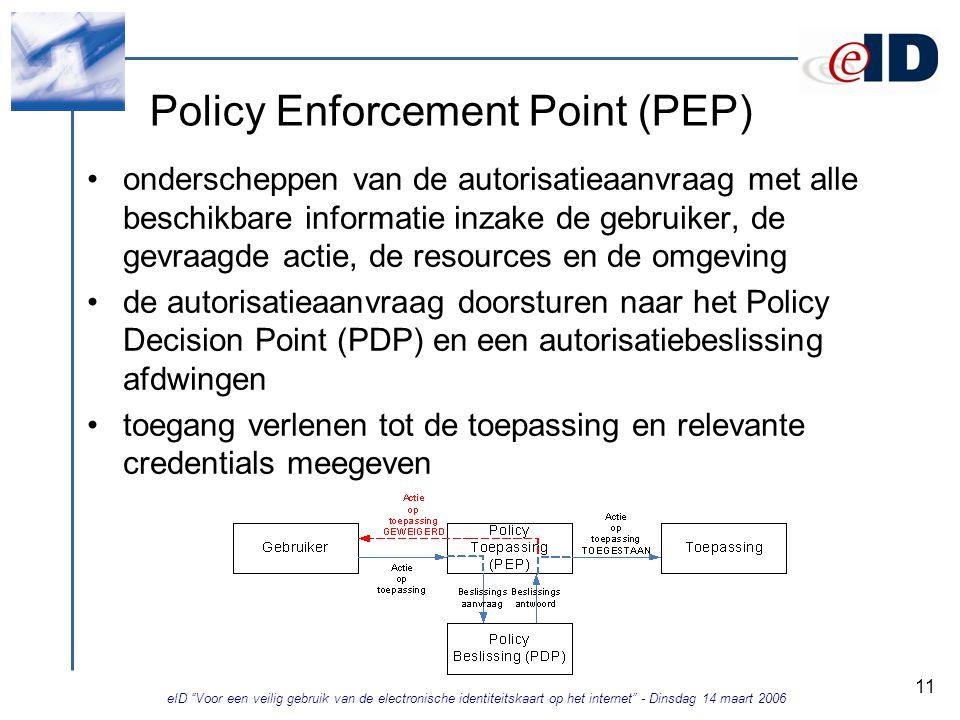 eID Voor een veilig gebruik van de electronische identiteitskaart op het internet - Dinsdag 14 maart 2006 11 Policy Enforcement Point (PEP) onderscheppen van de autorisatieaanvraag met alle beschikbare informatie inzake de gebruiker, de gevraagde actie, de resources en de omgeving de autorisatieaanvraag doorsturen naar het Policy Decision Point (PDP) en een autorisatiebeslissing afdwingen toegang verlenen tot de toepassing en relevante credentials meegeven