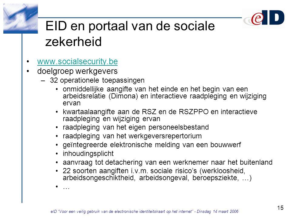 eID Voor een veilig gebruik van de electronische identiteitskaart op het internet - Dinsdag 14 maart 2006 15 EID en portaal van de sociale zekerheid www.socialsecurity.be doelgroep werkgevers –32 operationele toepassingen onmiddellijke aangifte van het einde en het begin van een arbeidsrelatie (Dimona) en interactieve raadpleging en wijziging ervan kwartaalaangifte aan de RSZ en de RSZPPO en interactieve raadpleging en wijziging ervan raadpleging van het eigen personeelsbestand raadpleging van het werkgeversrepertorium geïntegreerde elektronische melding van een bouwwerf inhoudingsplicht aanvraag tot detachering van een werknemer naar het buitenland 22 soorten aangiften i.v.m.