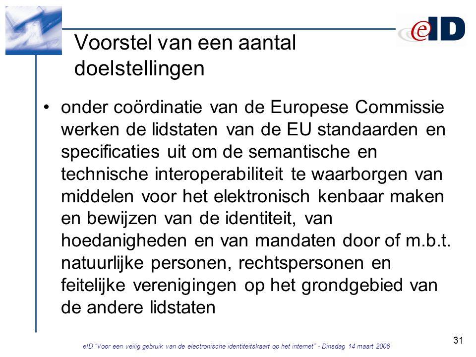 eID Voor een veilig gebruik van de electronische identiteitskaart op het internet - Dinsdag 14 maart 2006 31 Voorstel van een aantal doelstellingen onder coördinatie van de Europese Commissie werken de lidstaten van de EU standaarden en specificaties uit om de semantische en technische interoperabiliteit te waarborgen van middelen voor het elektronisch kenbaar maken en bewijzen van de identiteit, van hoedanigheden en van mandaten door of m.b.t.
