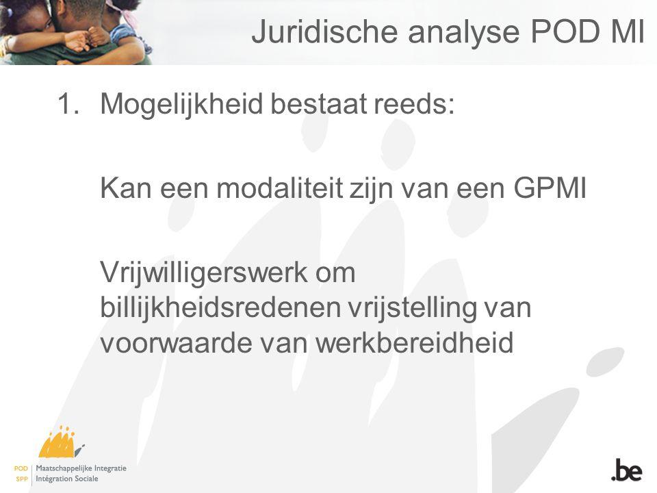Juridische analyse POD MI 1.Mogelijkheid bestaat reeds: Kan een modaliteit zijn van een GPMI Vrijwilligerswerk om billijkheidsredenen vrijstelling van voorwaarde van werkbereidheid