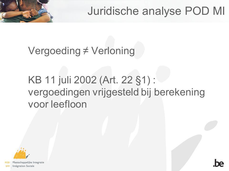 Juridische analyse POD MI Vergoeding ≠ Verloning KB 11 juli 2002 (Art.