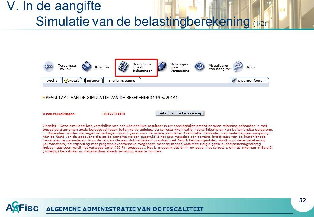 ALGEMENE ADMINISTRATIE VAN DE FISCALITEIT V.