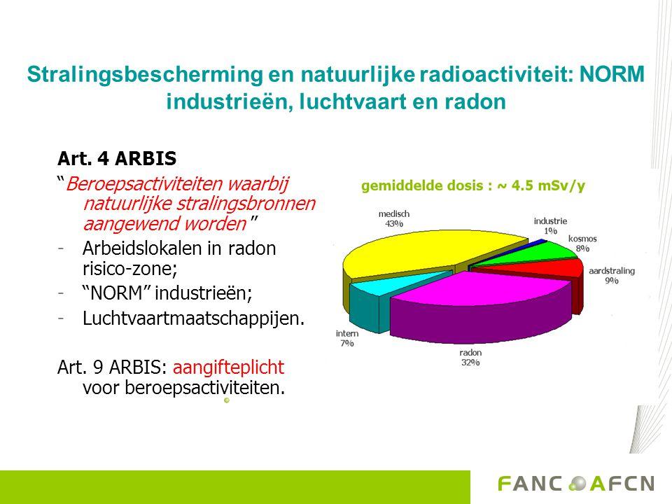Stralingsbescherming en natuurlijke radioactiviteit NORM industrieën: Bepaalde industriële activiteiten  omgaan met verhoogde niveau natuurlijke radioactiviteit (in grondstoffen, producten en/of afval) NORM : Naturally Occurring Radioactive Materials – natuurlijke stralingsbronnen Art.