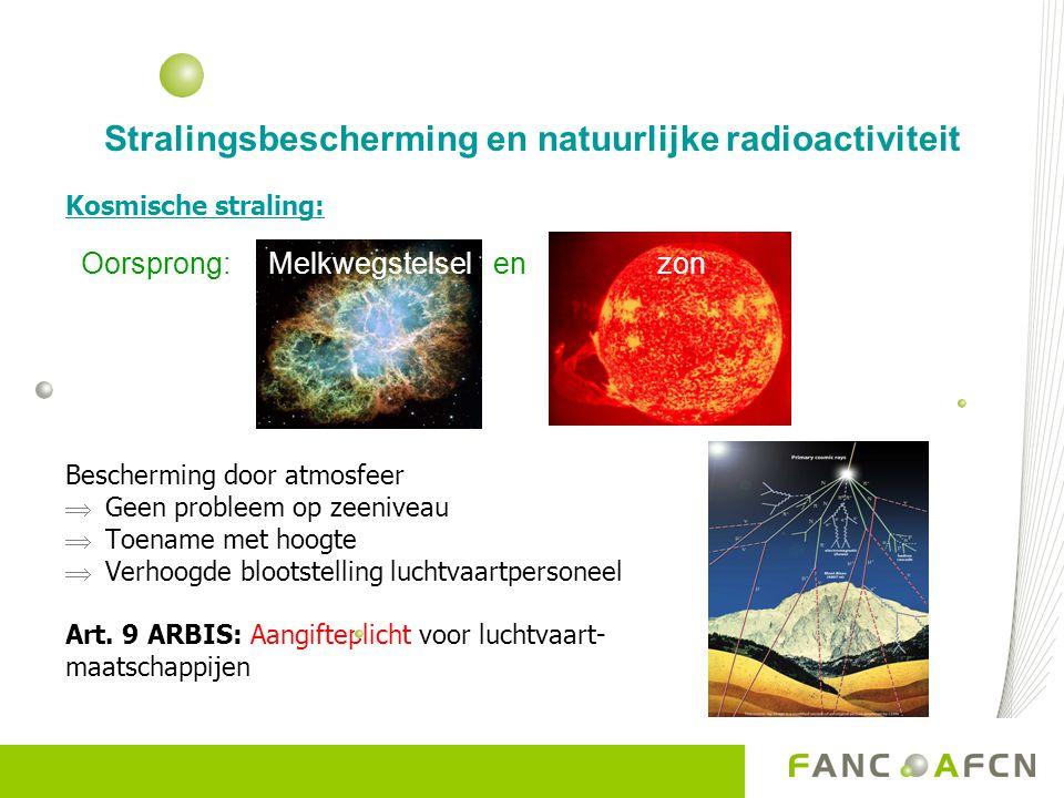 Stralingsbescherming en natuurlijke radioactiviteit Kosmische straling: Bescherming door atmosfeer  Geen probleem op zeeniveau  Toename met hoogte 