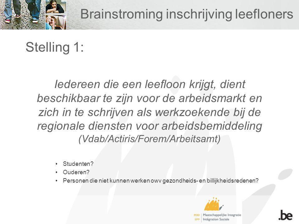 Brainstroming inschrijving leefloners Stelling 1: Iedereen die een leefloon krijgt, dient beschikbaar te zijn voor de arbeidsmarkt en zich in te schri