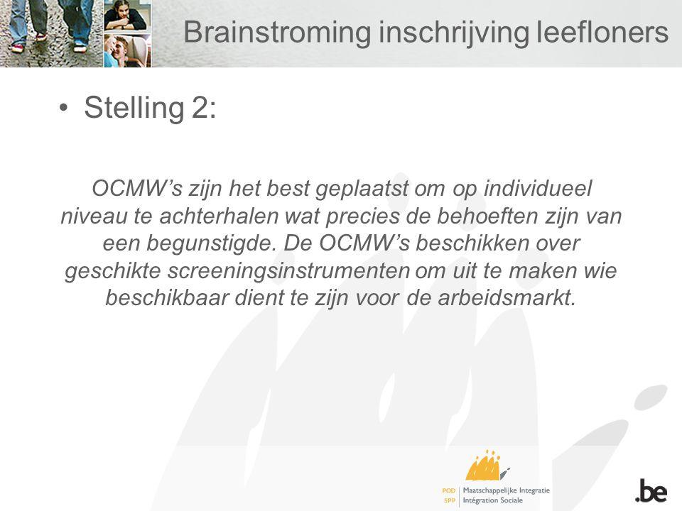 Brainstroming inschrijving leefloners Stelling 2: OCMW's zijn het best geplaatst om op individueel niveau te achterhalen wat precies de behoeften zijn