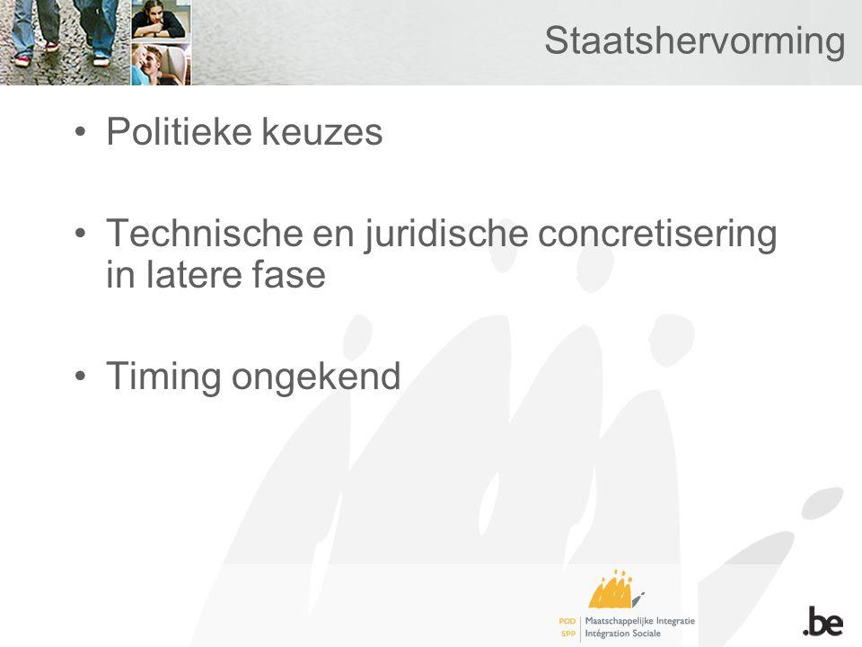 Staatshervorming Politieke keuzes Technische en juridische concretisering in latere fase Timing ongekend
