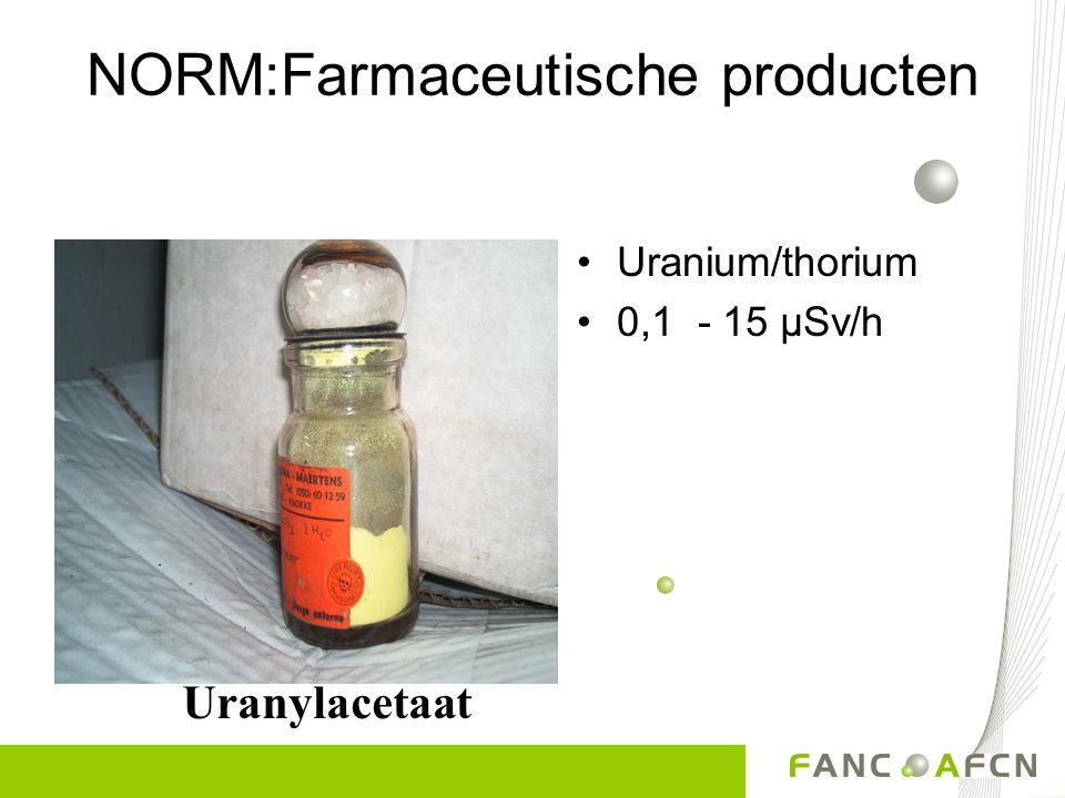 NORM: Mineralen Natuurlijk uranium 1 µSv/h – 300 µSv/h