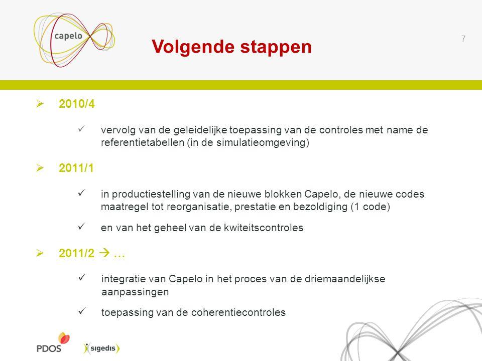 Volgende stappen 7  2010/4 vervolg van de geleidelijke toepassing van de controles met name de referentietabellen (in de simulatieomgeving)  2011/1 in productiestelling van de nieuwe blokken Capelo, de nieuwe codes maatregel tot reorganisatie, prestatie en bezoldiging (1 code) en van het geheel van de kwiteitscontroles  2011/2  … integratie van Capelo in het proces van de driemaandelijkse aanpassingen toepassing van de coherentiecontroles