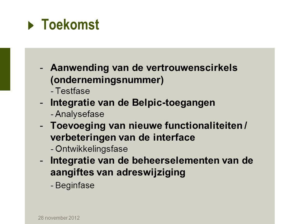 Toekomst -Aanwending van de vertrouwenscirkels (ondernemingsnummer) -Testfase -Integratie van de Belpic-toegangen -Analysefase -Toevoeging van nieuwe