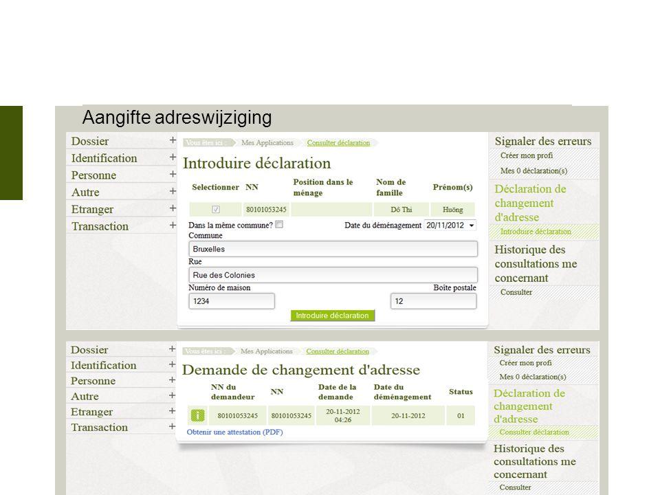 28 novembre 2012 Aangifte adreswijziging