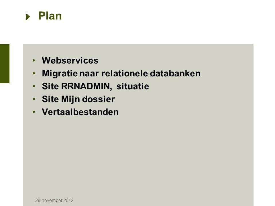 28 november 2012 Webservices -Stopzetting van het onderhoud van de uitrustingen (op 31 december 2012) -Stopzetting van de transacties in protocol X.25 (op 18 februari 2013) -Stopzetting van het netwerk DCS van Belgacom (op 31 december 2012) -Stopzetting van het netwerk VERA (op 31 december 2012) -Stopzetting van de overdracht van bestanden op dragers als cassette of DVD (op 31 januari 2013) -Verplicht gebruik van het toepassingscertificaat met controle van het nationaal nummer of controle van het ondernemingsnummer (eind 2013) -Oriëntatie naar de transacties XML