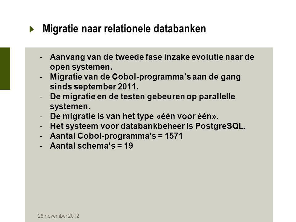 28 november 2012 Migratie naar relationele databanken -Aanvang van de tweede fase inzake evolutie naar de open systemen. -Migratie van de Cobol-progra