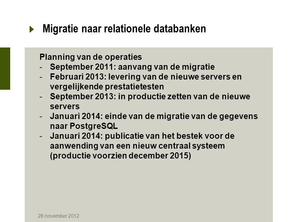 28 november 2012 Migratie naar relationele databanken Planning van de operaties -September 2011: aanvang van de migratie -Februari 2013: levering van