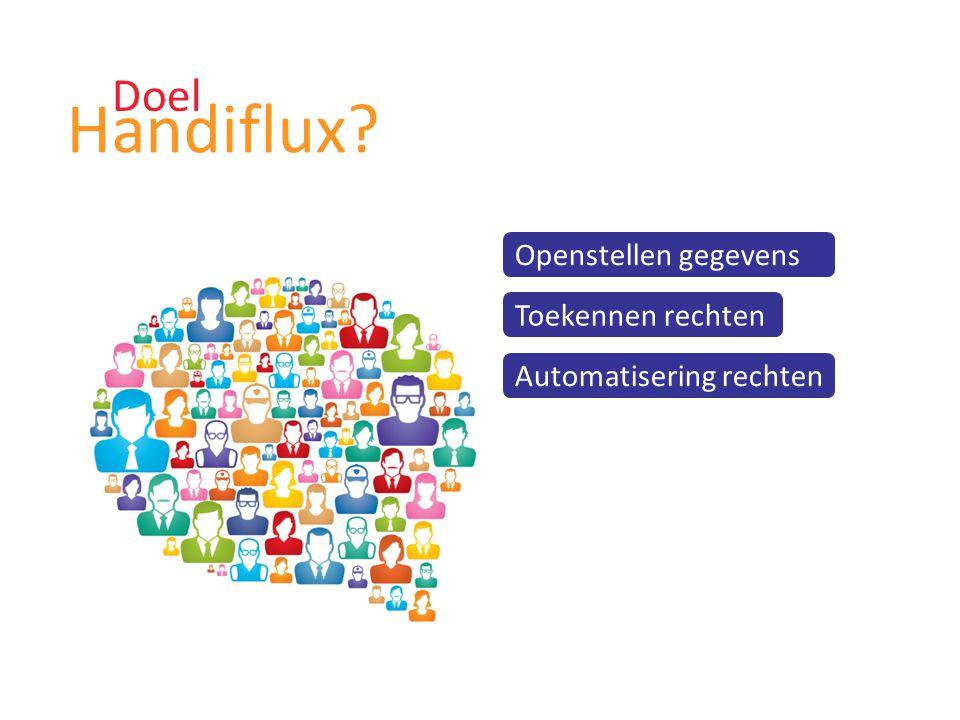 Doel Handiflux? Openstellen gegevens Toekennen rechten Automatisering rechten