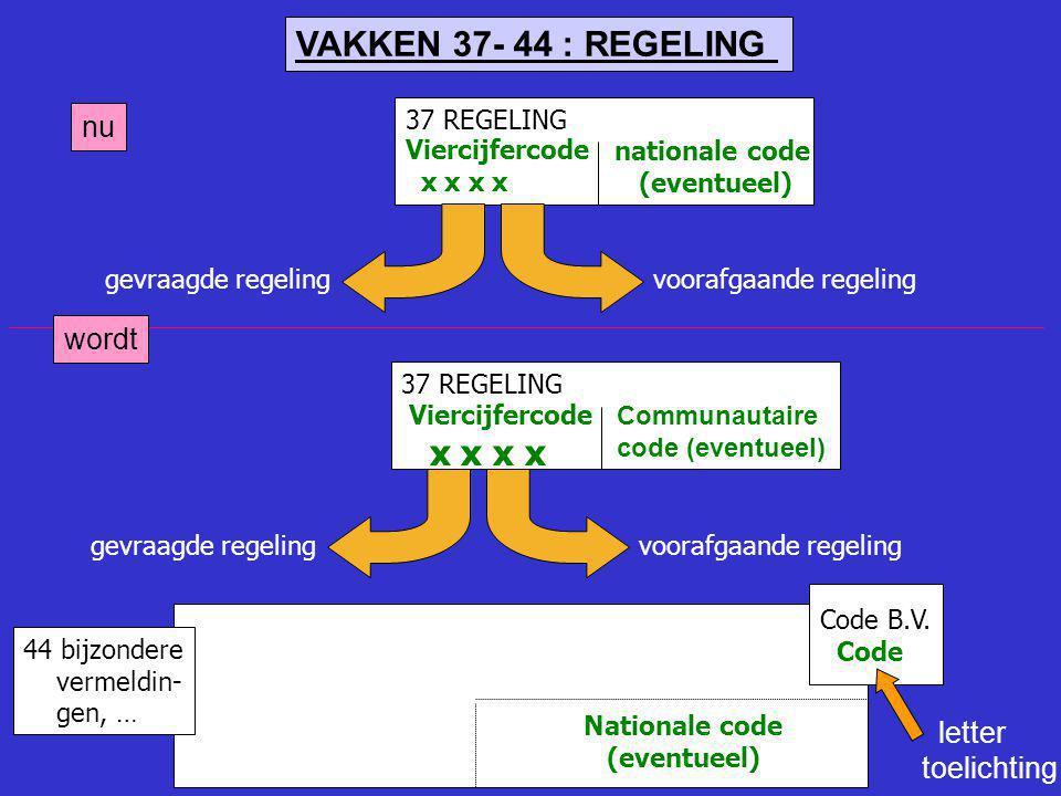37 REGELING Viercijfercode x x x x voorafgaande regelinggevraagde regeling nationale code (eventueel) 44 bijzondere vermeldin- gen, … Code B.V. Code N