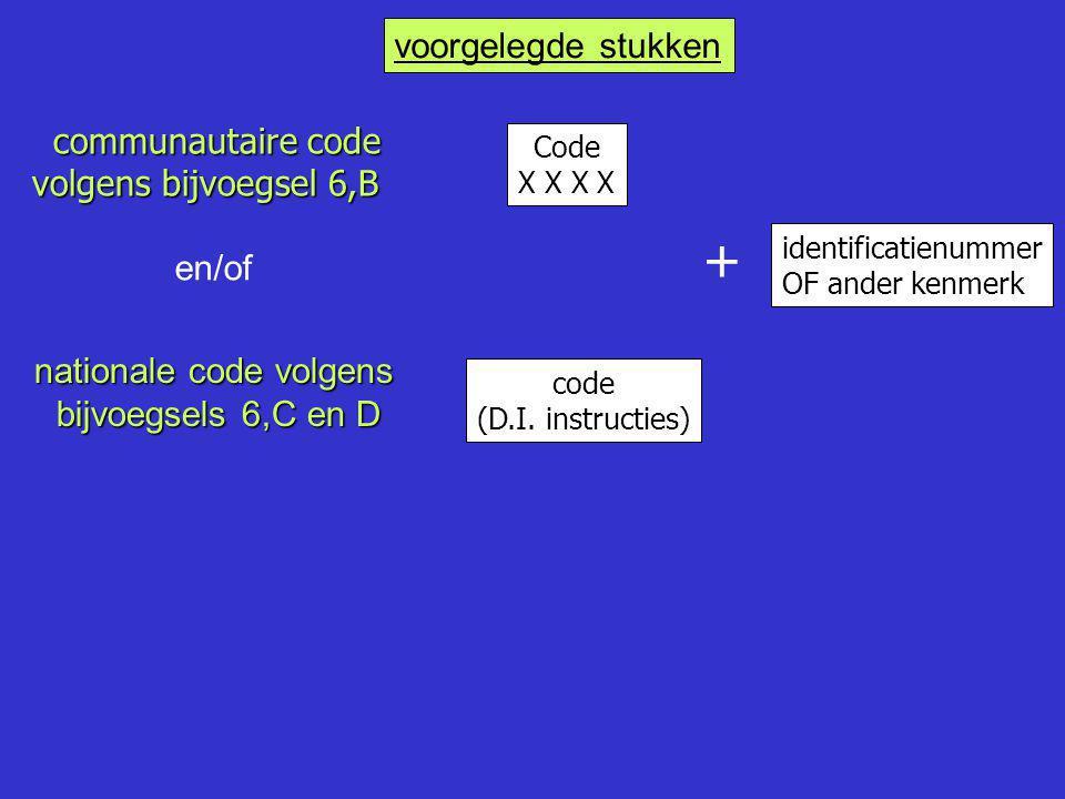 communautaire code volgens bijvoegsel 6,B Code X X identificatienummer OF ander kenmerk code (D.I. instructies) + voorgelegde stukken en/of nationale