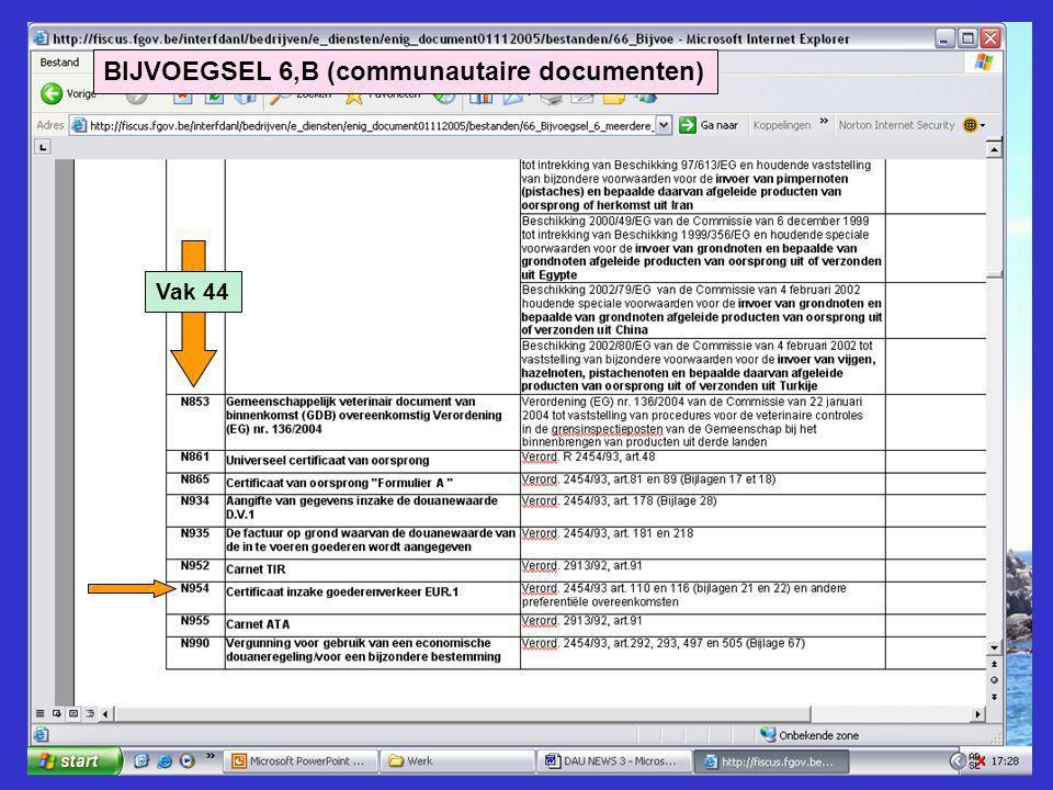BIJVOEGSEL 6,B (communautaire documenten) Vak 44