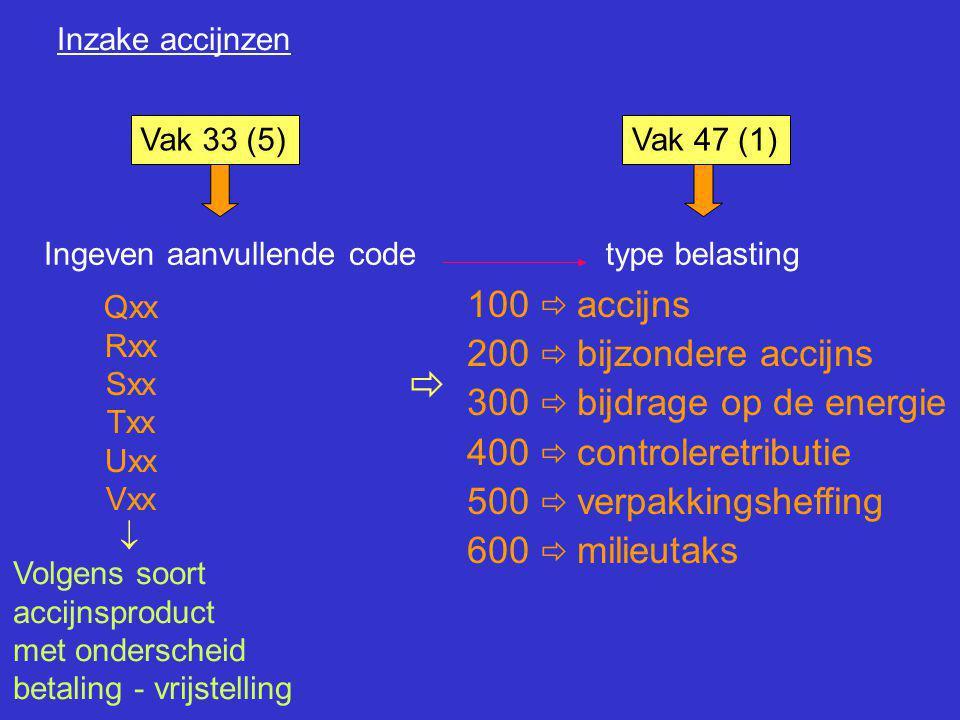 Inzake accijnzen Vak 33 (5)Vak 47 (1) Ingeven aanvullende codetype belasting Qxx Rxx Sxx Txx Uxx Vxx  Volgens soort accijnsproduct met onderscheid be