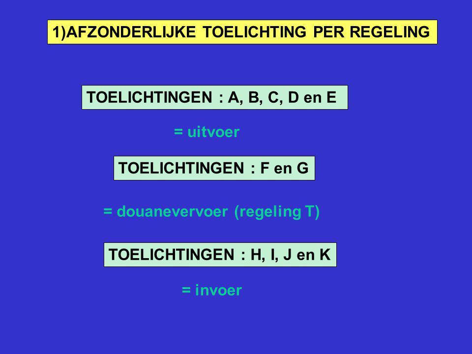 TOELICHTINGEN : A, B, C, D en E = uitvoer TOELICHTINGEN : F en G = douanevervoer (regeling T) TOELICHTINGEN : H, I, J en K = invoer 1)AFZONDERLIJKE TO