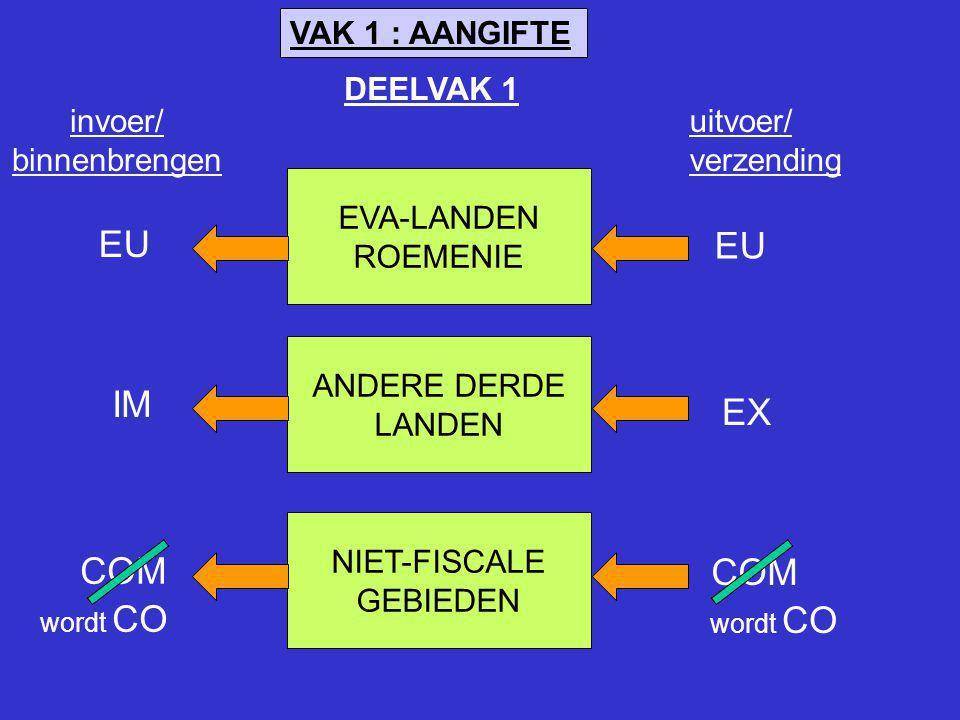 VAK 1 : AANGIFTE EVA-LANDEN ROEMENIE ANDERE DERDE LANDEN NIET-FISCALE GEBIEDEN invoer/ binnenbrengen EU IM EX COM wordt CO uitvoer/ verzending DEELVAK