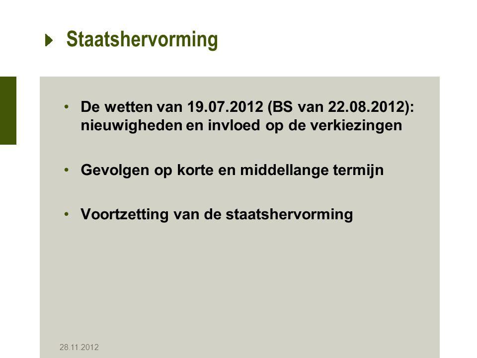 28.11.2012 Staatshervorming De wetten van 19.07.2012 (BS van 22.08.2012): nieuwigheden en invloed op de verkiezingen Gevolgen op korte en middellange