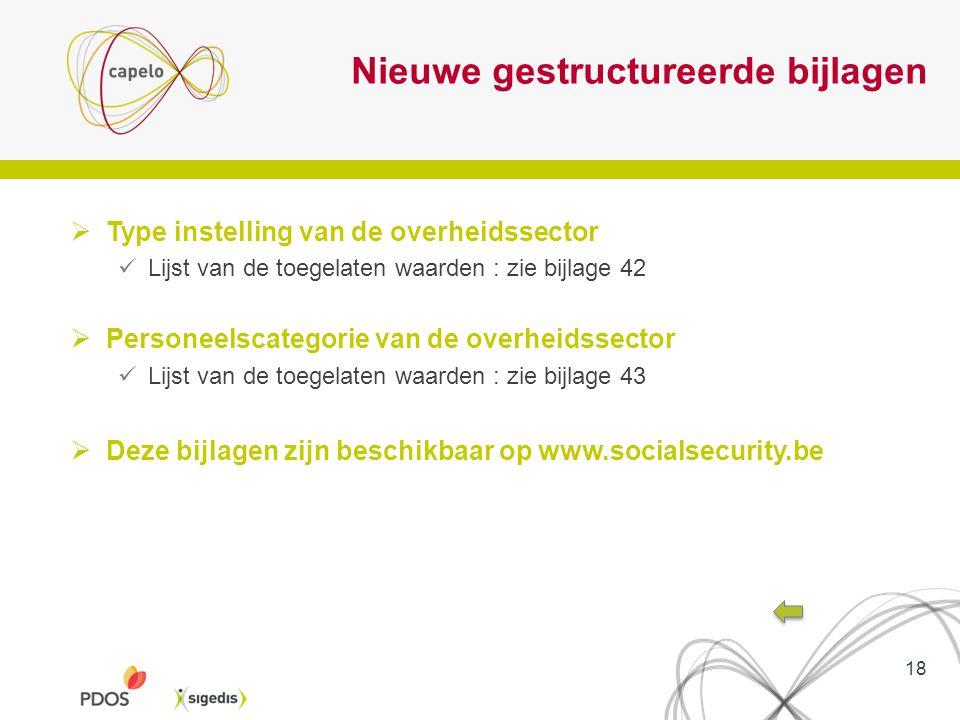 Nieuwe gestructureerde bijlagen  Type instelling van de overheidssector Lijst van de toegelaten waarden : zie bijlage 42  Personeelscategorie van de