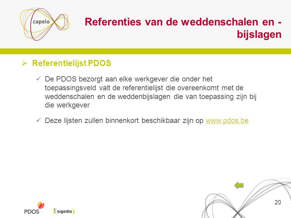 Referenties van de weddenschalen en - bijslagen  Referentielijst PDOS De PDOS bezorgt aan elke werkgever die onder het toepassingsveld valt de refere