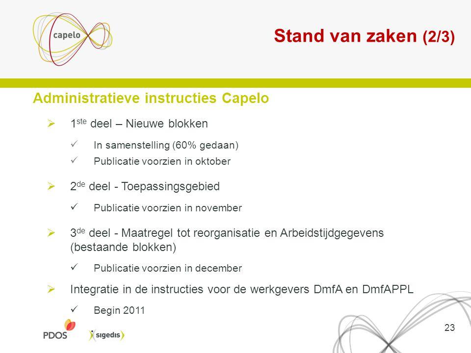 Stand van zaken (2/3) 23 Administratieve instructies Capelo  1 ste deel – Nieuwe blokken In samenstelling (60% gedaan) Publicatie voorzien in oktober