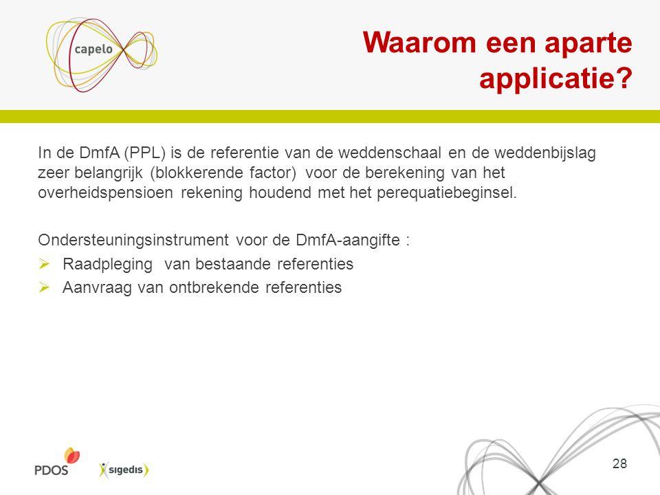 Waarom een aparte applicatie? In de DmfA (PPL) is de referentie van de weddenschaal en de weddenbijslag zeer belangrijk (blokkerende factor) voor de b