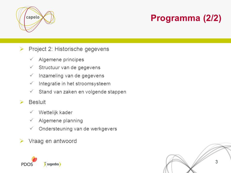 Programma (2/2)  Project 2: Historische gegevens Algemene principes Structuur van de gegevens Inzameling van de gegevens Integratie in het stroomsyst