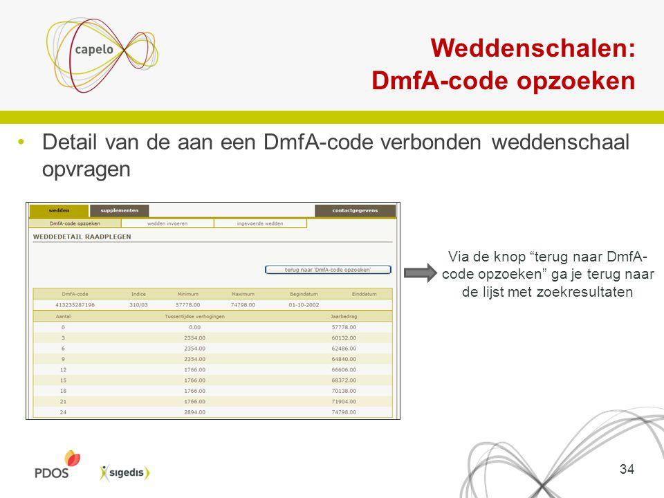 """Weddenschalen: DmfA-code opzoeken Detail van de aan een DmfA-code verbonden weddenschaal opvragen Via de knop """"terug naar DmfA- code opzoeken"""" ga je t"""