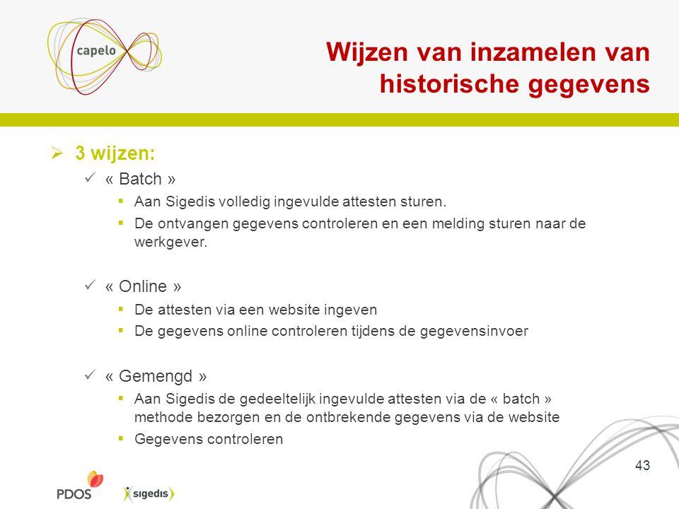 Wijzen van inzamelen van historische gegevens  3 wijzen: « Batch »  Aan Sigedis volledig ingevulde attesten sturen.  De ontvangen gegevens controle