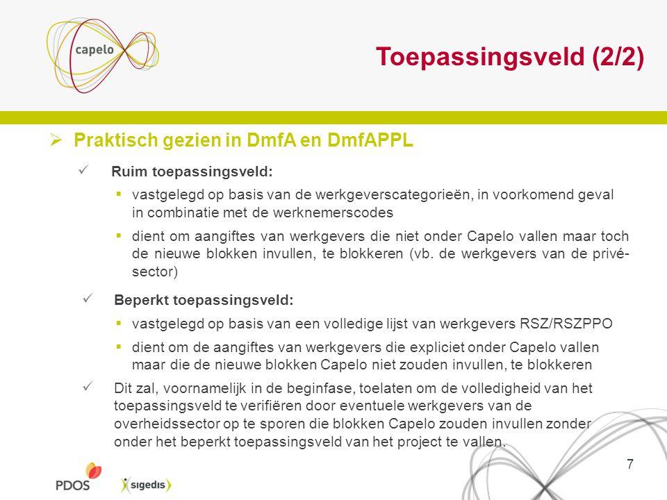 Toepassingsveld (2/2)  Praktisch gezien in DmfA en DmfAPPL Ruim toepassingsveld:  vastgelegd op basis van de werkgeverscategorieën, in voorkomend ge