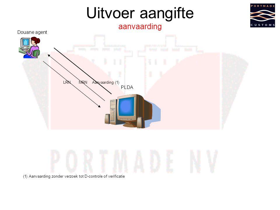 Uitvoer aangifte aanvaarding Aanvaarding (1) Douane agent PLDA LRNMRN (1) Aanvaarding zonder verzoek tot D-controle of verificatie