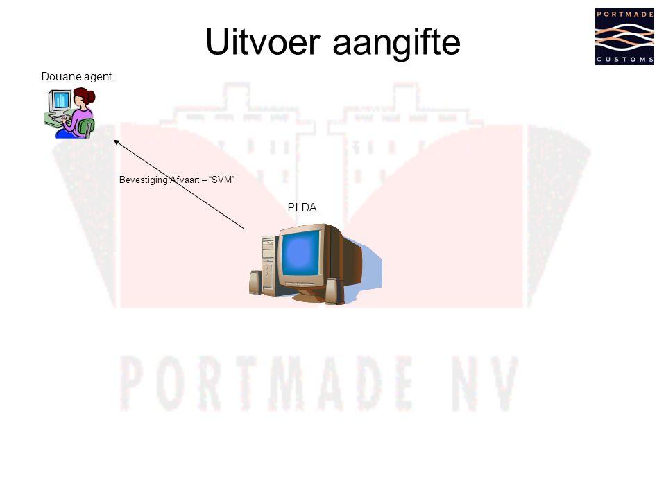 Uitvoer aangifte Douane agent PLDA Bevestiging Afvaart – SVM