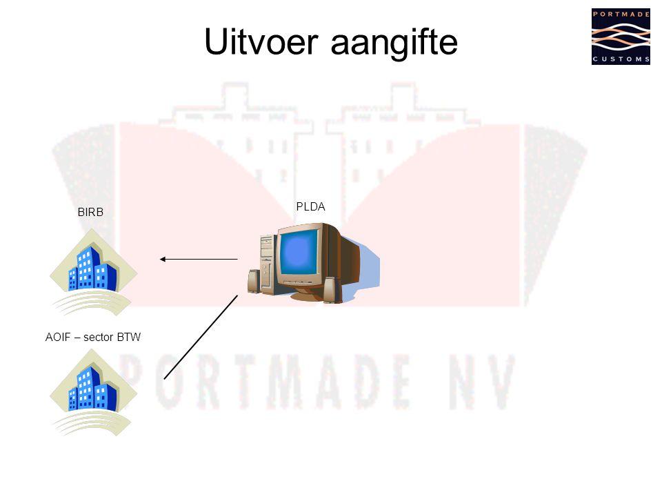Uitvoer aangifte AOIF – sector BTW PLDA BIRB