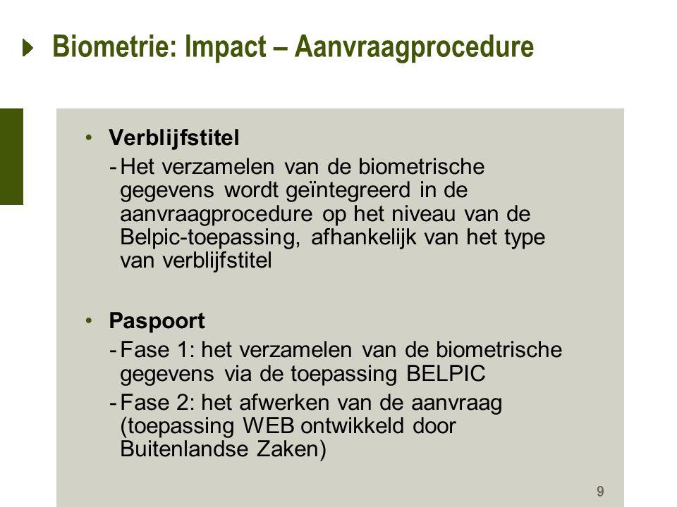 10 Biometrie: Impact – Uitreikingsprocedure Verblijfstitel -Ongewijzigd, indien geen biometrische gegevens beschikbaar -Toevoeging van een controle betreffende de overeenstemming van de vingerafdrukken Paspoort -Ongewijzigd