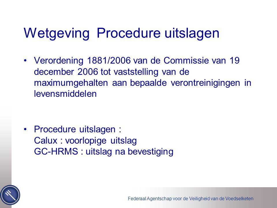 Federaal Agentschap voor de Veiligheid van de Voedselketen Wetgeving Procedure uitslagen Verordening 1881/2006 van de Commissie van 19 december 2006 t