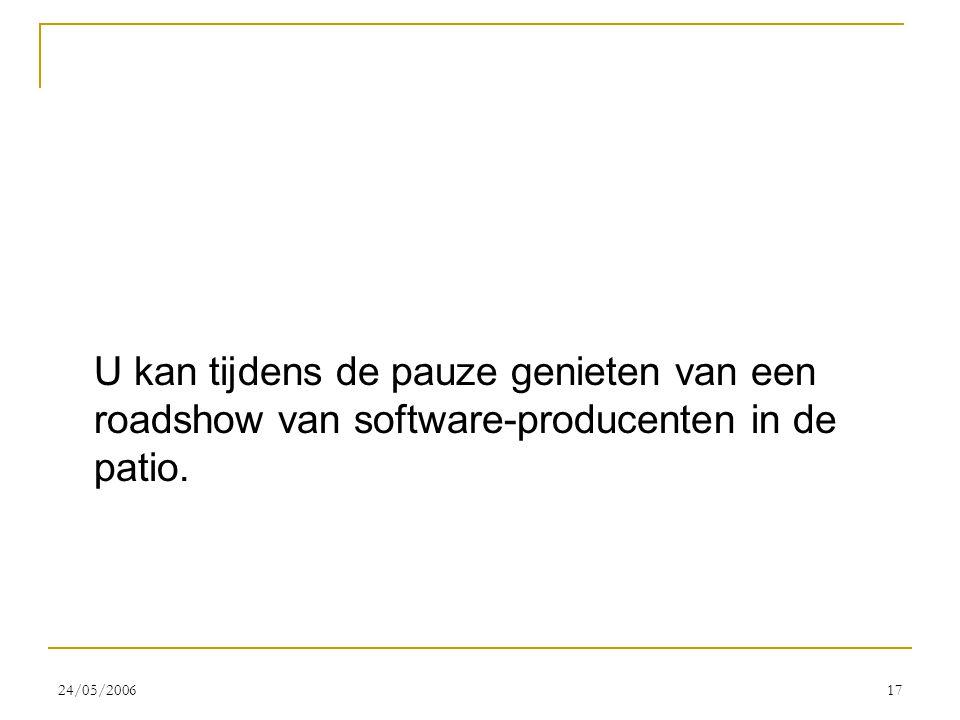 24/05/200617 U kan tijdens de pauze genieten van een roadshow van software-producenten in de patio.