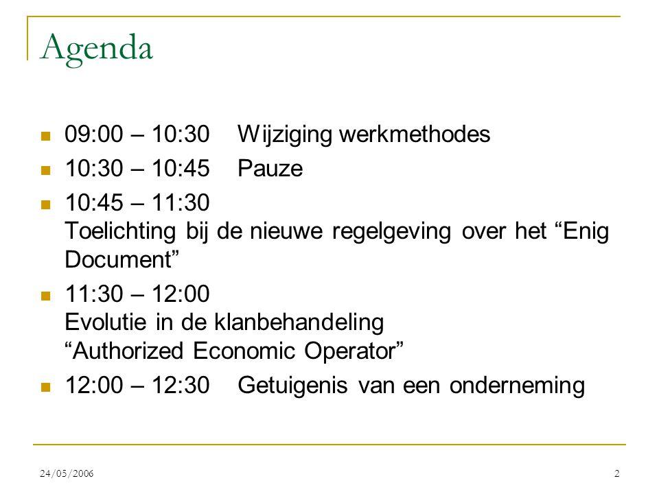 """24/05/20062 Agenda 09:00 – 10:30Wijziging werkmethodes 10:30 – 10:45Pauze 10:45 – 11:30 Toelichting bij de nieuwe regelgeving over het """"Enig Document"""""""