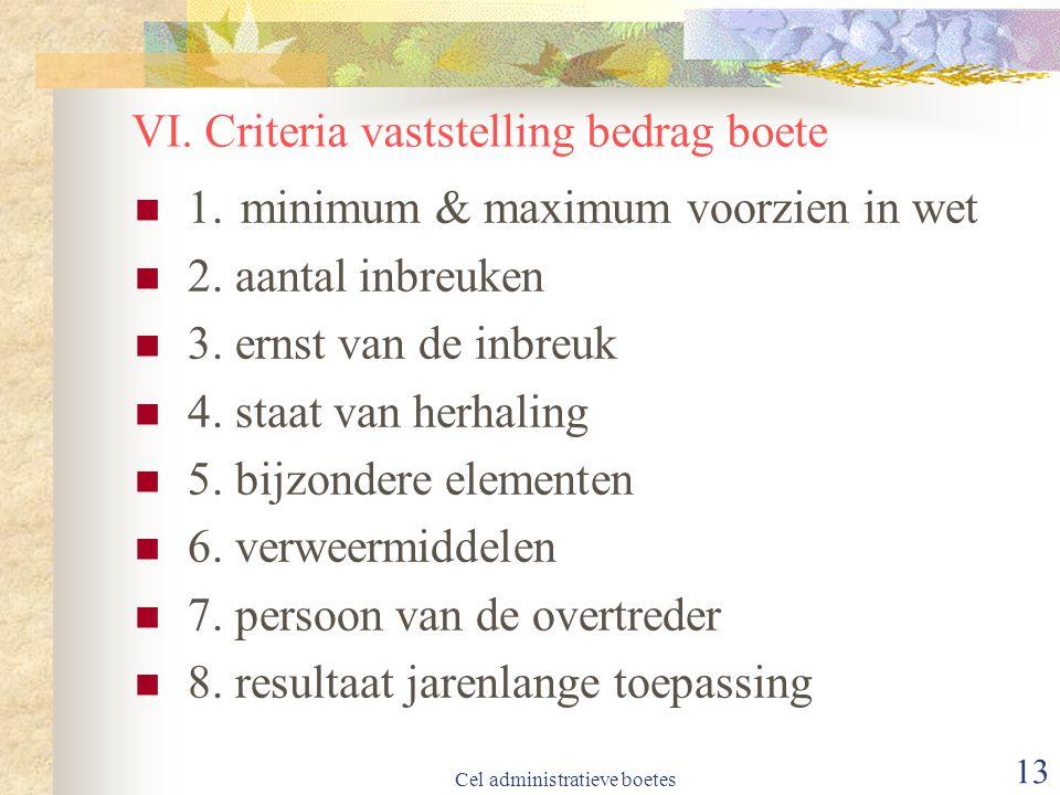 Cel administratieve boetes 13 VI.