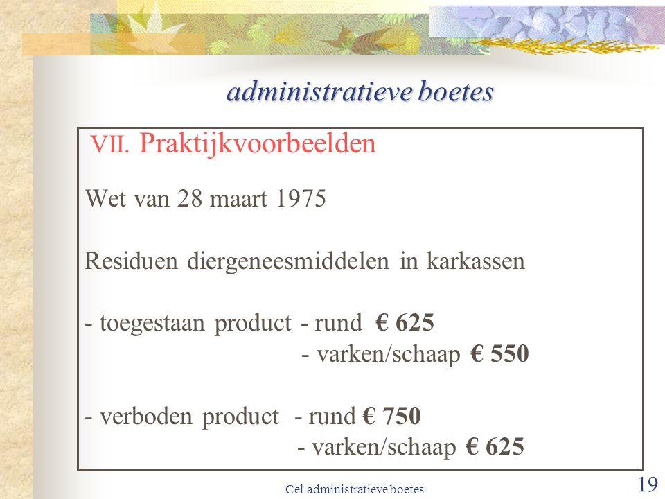 Cel administratieve boetes 19 administratieve boetes VII.