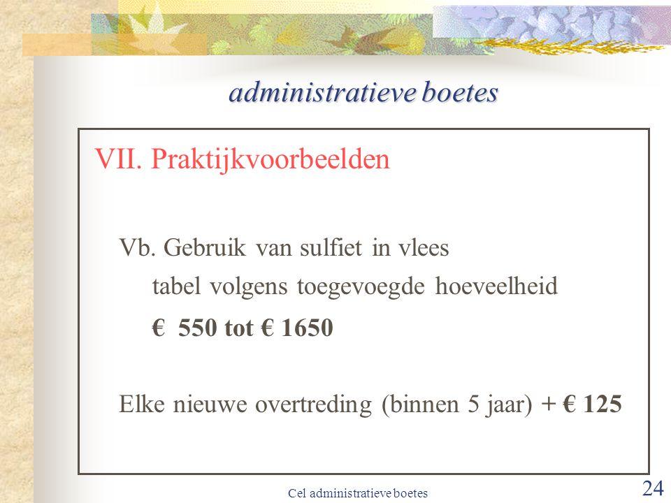 Cel administratieve boetes 24 administratieve boetes VII.