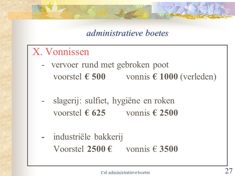 Cel administratieve boetes 27 administratieve boetes X.