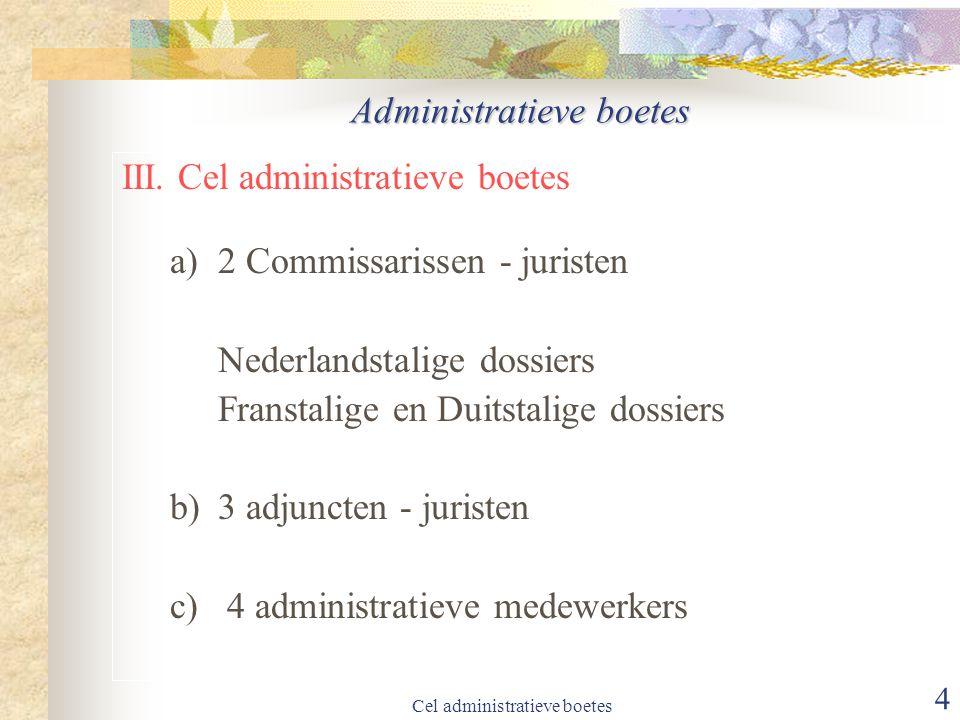 Cel administratieve boetes 15 administratieve boetes VII.