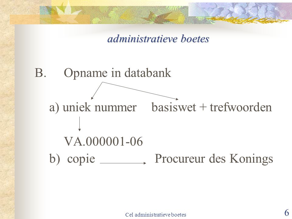 Cel administratieve boetes 6 administratieve boetes B.