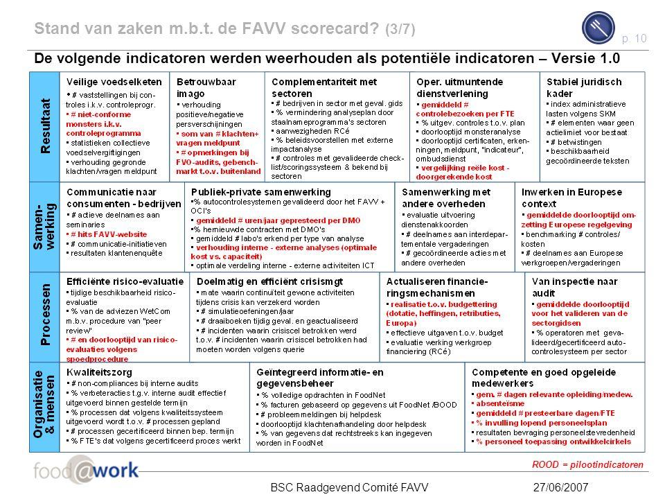 p. 9 BSC Raadgevend Comité FAVV27/06/2007 Stand van zaken m.b.t. de FAVV scorecard? (2/7) Vanuit de strategische objectieven werd een voorstel van ind
