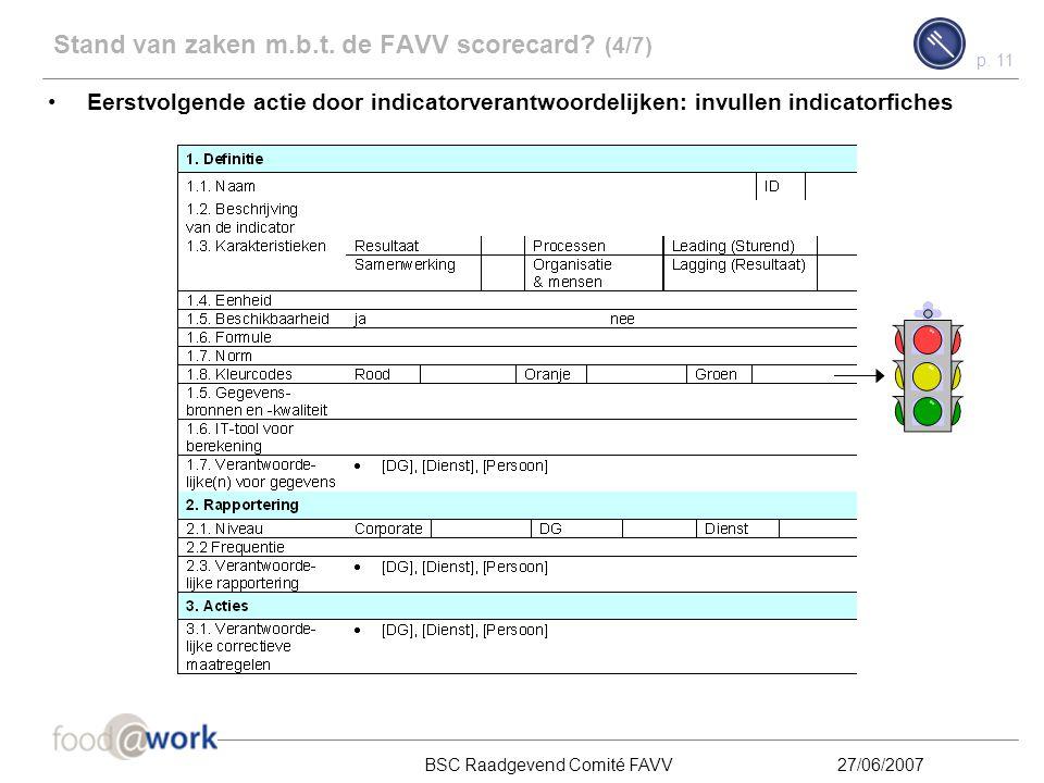 p. 10 BSC Raadgevend Comité FAVV27/06/2007 Stand van zaken m.b.t. de FAVV scorecard? (3/7) De volgende indicatoren werden weerhouden als potentiële in